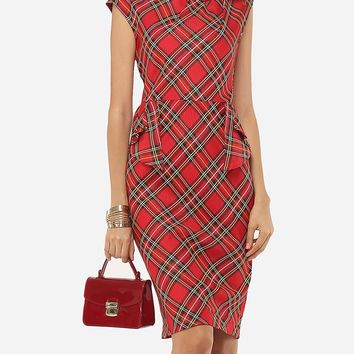 Streetstyle  Casual Plaid Printed Zips Elegant Round Neck Bodycon-dress
