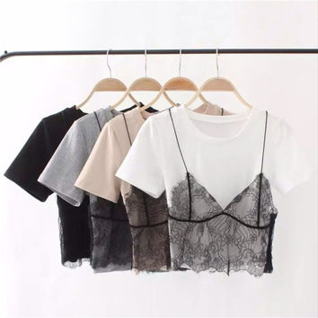 Stylish Lace Tops T-shirts [10199611783]