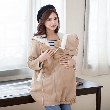 Fashion Cute Maternity Coat thicken Warming cotton Maternity clothes for holding babies pregnant Women Winter jackets 2 in 1 use