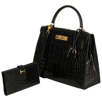 SO SO RARE Hermes 28cm Black Alligator Kelly Bag & Matching 'H' Bearn Wallet