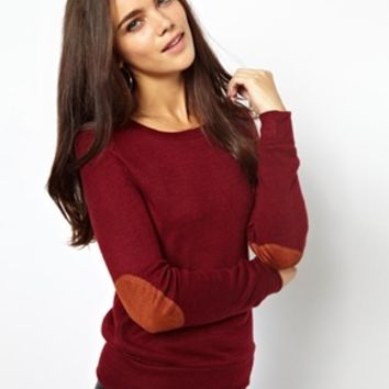 Glamorous Marl Jumper In Fine Jersey With Elbow Patch at asos.com