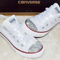 Customised Crystal White Low Top All Star Converse with Blinged Crystal Toes & White Satin Ribbon Laces Ready To Ship Junior UK Size 1