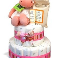 Organic Baby Andi 2-Tier Hippo Diaper Cake or Centerpiece - (3 Colors)