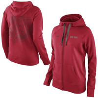 Ohio State Buckeyes Nike Women's Warp All Time Full Zip Performance Hoodie - Scarlet