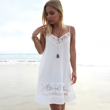 Pure Bloom Crochet Shift Dress In Ivory