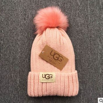 DCCKN6V UGG Trending Fashion Casual  Knit And Pom Hat Cap Warm Woolen Hat Pink