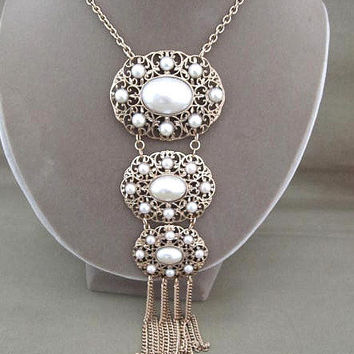 Long Tiered Pearl and Gold Pendant Necklace