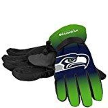 Seattle Seahawks Official NFL Gradient Big Logo Insulated Gloves