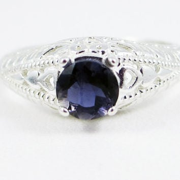 Iolite Filigree Ring Sterling Silver, Water Sapphire Ring, Sterling Iolite Ring, Iolite Filigree Ring, 925 Sterling Silver Filigree Ring
