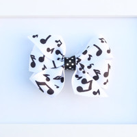 Hair Bow, Black & White Musical Note Pinwheel Bow, Hairbows, Hair bow, Baby Hair Clips, Clippie, Barrette for Newborn, Toddler and big Girls
