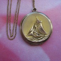Antique Sail Boat Locket Necklace, Nautical Jewelry, CQ&R
