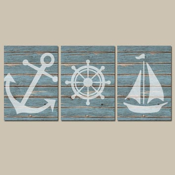 Nautical Wall Art CANVAS or Prints Distressed Wood Effect Background Boy Nursery Bathroom Decor Blue Ocean Anchor Boat Wheel Set of 3