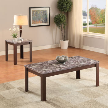 Acme Arabia 2Pc Pack Coffee/End Table Set, Faux Marble & Cherry