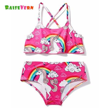 Baby Girls 3D Cartoon Unicorn Printing Swimming Suit 2 Pieces 2-6Y Children Cute Swimsuit Kids Summer Swim Clothing Girl Clothes