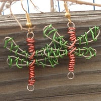 Dragonfly Earrings Color Wire Wrapped Green and Brown Country Bohemian - Dragonfly Dance -