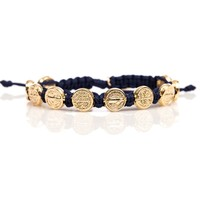 St. Benedictine Blessing Bracelet Navy with Gold Metal