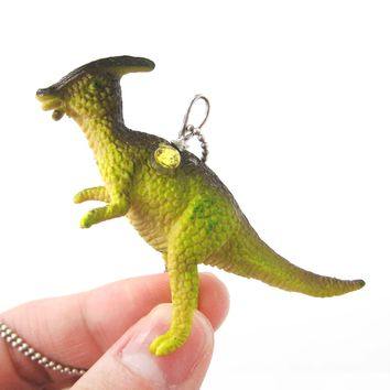 Charonosaurus Dinosaur Shaped Pendant Necklace in Green | Animal Jewelry
