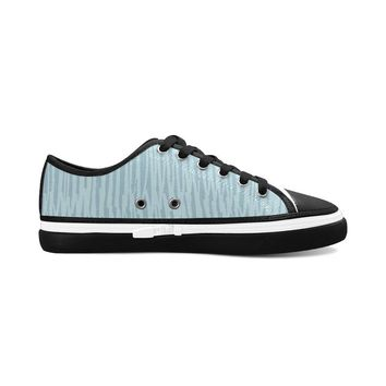 Blue Stripes Theme Black Base Women's Nonslip Canvas Shoes