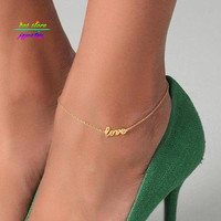 New Summer Style Gold/Silver/Black Plated LOVE Letter Statement Anklet For Women Body Jewelry Bracelet For Women Bijoux