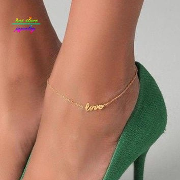 2016 New Summer Style Gold/Silver/Black Plated LOVE Letter Statement Anklet For Women Body Jewelry Bracelet For Women Bijoux
