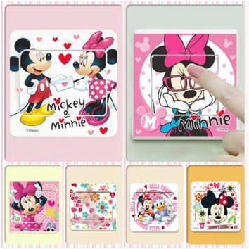 6 pcs/lot Cartoon Minnie Mickey mouse Switch Wall Stickers Nursery Kids Living Rooms Bedroom Home Decor 3d pvc Wall Decals