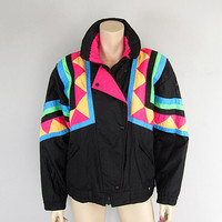 OBERMEYER 80s Voo Doo Neon Ski Jacket Vintage 1980s Mod Ski Party Coat size 10 Punk New Wave Skiing Outfit Parka Geometric