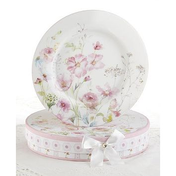 Set of 2 Porcelain Poppyseed Dessert Plates in Gift Box