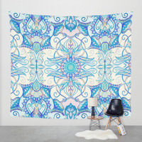 Teal Blue, Pearl & Pink Floral Pattern Wall Tapestry by Micklyn
