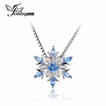 JewelryPalace Snowflake Genuine Blue Topaz Solid 925 Sterling Silver Pendant Necklace 45cm Box Chain Fine Jewelry For Women