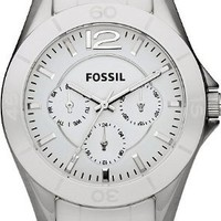 Fossil Women's CE1002 White Ceramic Bracelet White Analog Dial Multifunction Watch