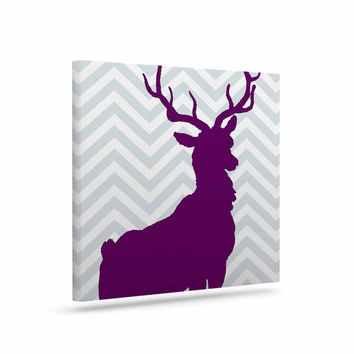 "Suzanne Carter ""Chevron Deer"" Purple  Canvas Art"