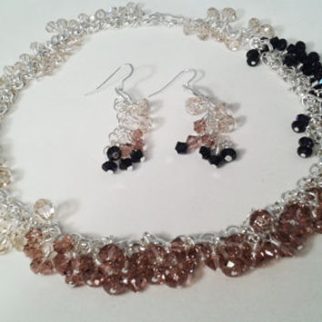 Swarovski Blush, Cream and Navy Crystal and Silver Statement Necklace and Earring Set with Sterling Silver Toggle Clasp