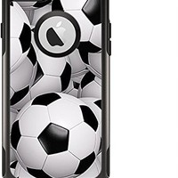 (OtterBox Case & Skin Bundle) The Soccer Ball Overlay Apple iPhone 6 Otterbox Commuter White Case and Skin Set (Black OtterBox Commuter Case Included!)