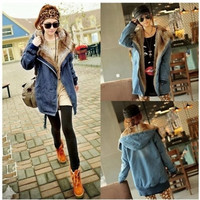 Women Thicken Jean Winter Coat Faux Fur Lining Collar Hooded Parka Warm Jacket = 1932748740