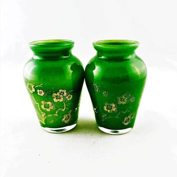 Vintage Emerald Green Glass Mini Vase Hand Painted Gold Floral (Set of 2) 3.75""