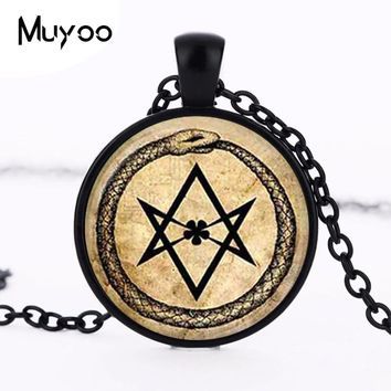 Art Glass Pendant ouroboros hexagram snake pendant occult magic eternity alchemical crowley parchment fashion jewelry HZ1
