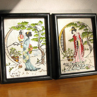 Vintage Asian Geisha Woman Embroidered Pictures, Japanese Lady Art Work