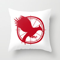 Catching Fire MockingJay - Red Throw Pillow by Lauren Lee Designs