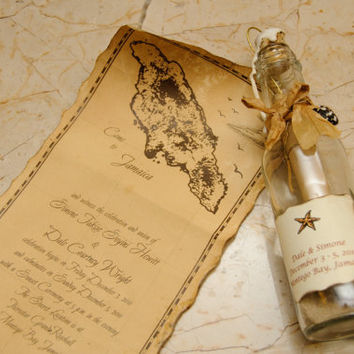Message in a Bottle Wedding Invitation with  Wax Seal or Save the date (Set of 30)