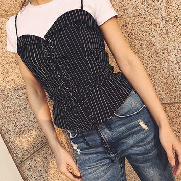 Black Stripe Eyelet Lace Up Front Sweetheart Cami Top
