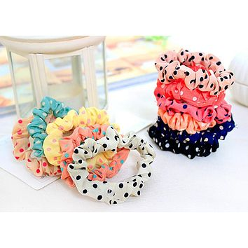 1 Pcs Cute Hot Sale Sweet Girl Elastic Hair Band Ponytail Holder Accessories Headwear With Polka Dots
