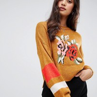 Miss Selfridge floral jaquard jumper at asos.com