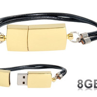 Fashionable Bracelet Design 8GB USB Flash Drive (Gold)