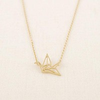 Gold Silver Plated Origami Crane Necklaces for Women Cute Bird Chain Necklaces 2016 Simple Couple Necklaces