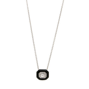 Oui Enamel and Diamond Pendant Necklace