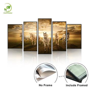 5pcs Animal Painting Horses Frame Canvas Prints Picture Melamine Sponge Board Running Horse Oil Painting Wall Art Home Decor Art
