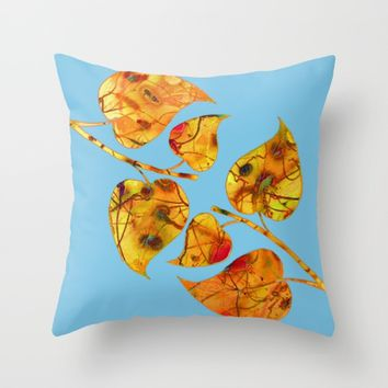 blue automn Throw Pillow by clemm