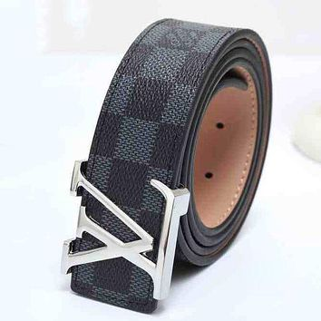 LV Louis Vuitton Fashion Leather Belt Men Women Utility Black(Silver buckle)
