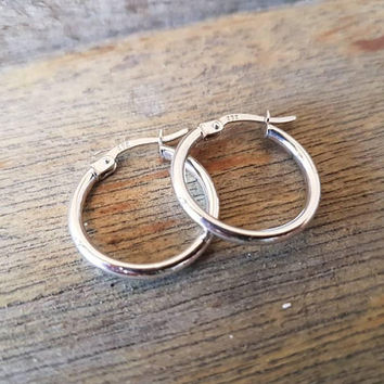 Vintage White Gold Hoop Earrings , Classic Style , Real 9ct Gold , Ladies white Gold Hoops , Gifts For Her