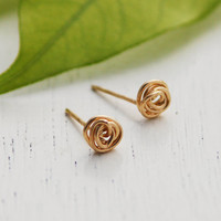 Gold Stud Earrings 14K Gold filled Spiral Post earrings by kookime